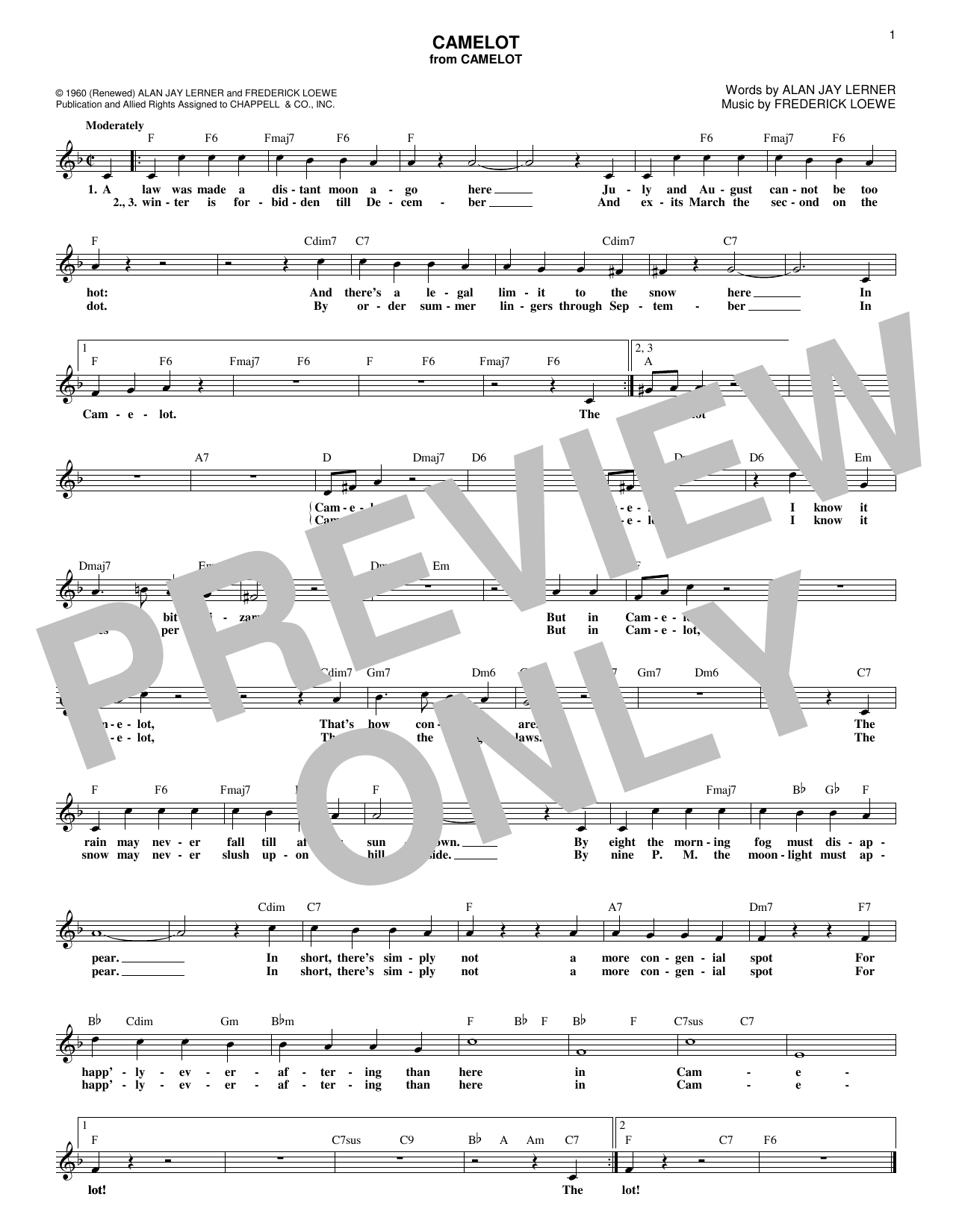 Download Alan Jay Lerner 'Camelot' Digital Sheet Music Notes & Chords and start playing in minutes