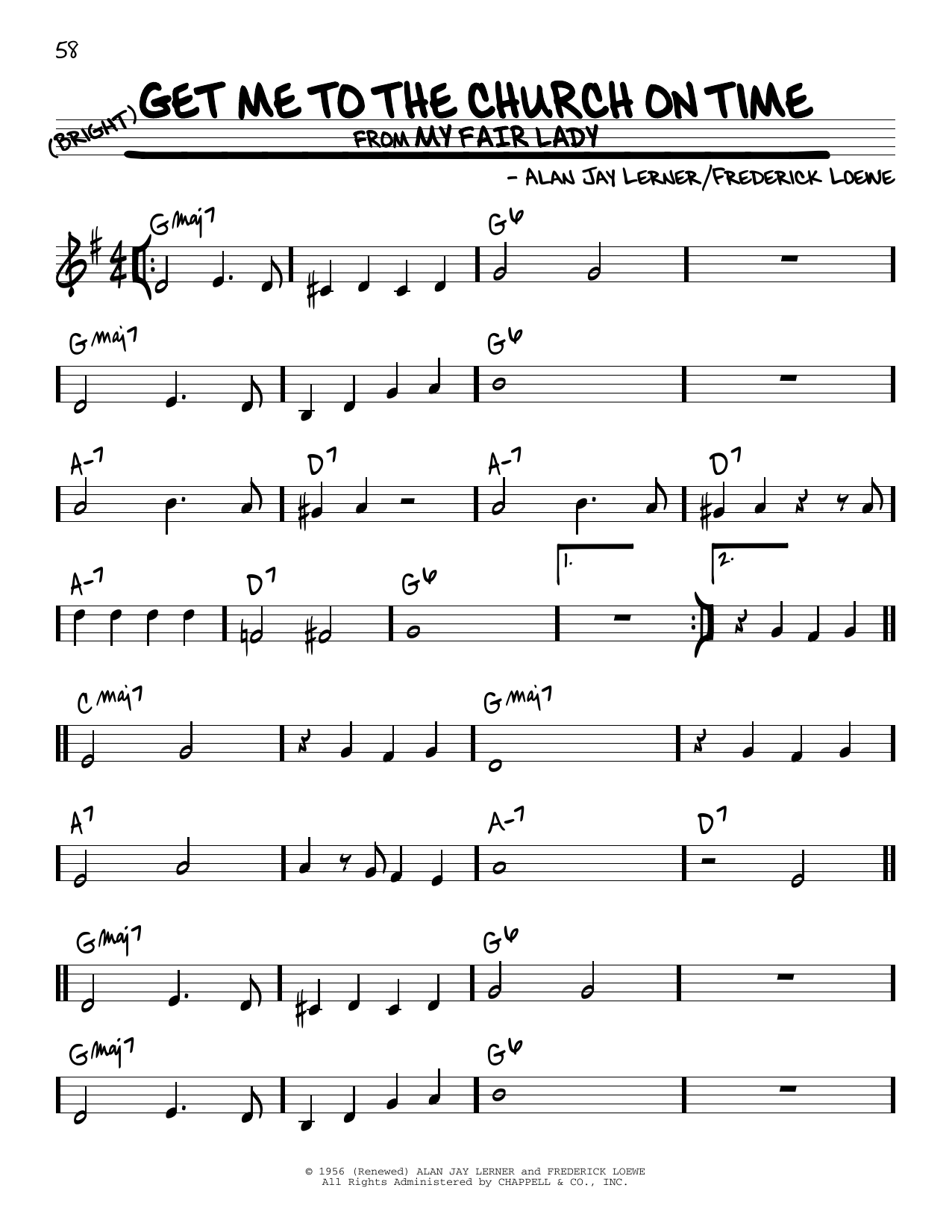 Download Alan Jay Lerner 'Get Me To The Church On Time' Digital Sheet Music Notes & Chords and start playing in minutes
