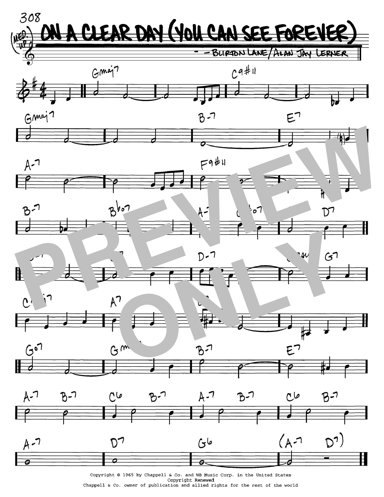 Download Alan Jay Lerner 'On A Clear Day (You Can See Forever)' Digital Sheet Music Notes & Chords and start playing in minutes