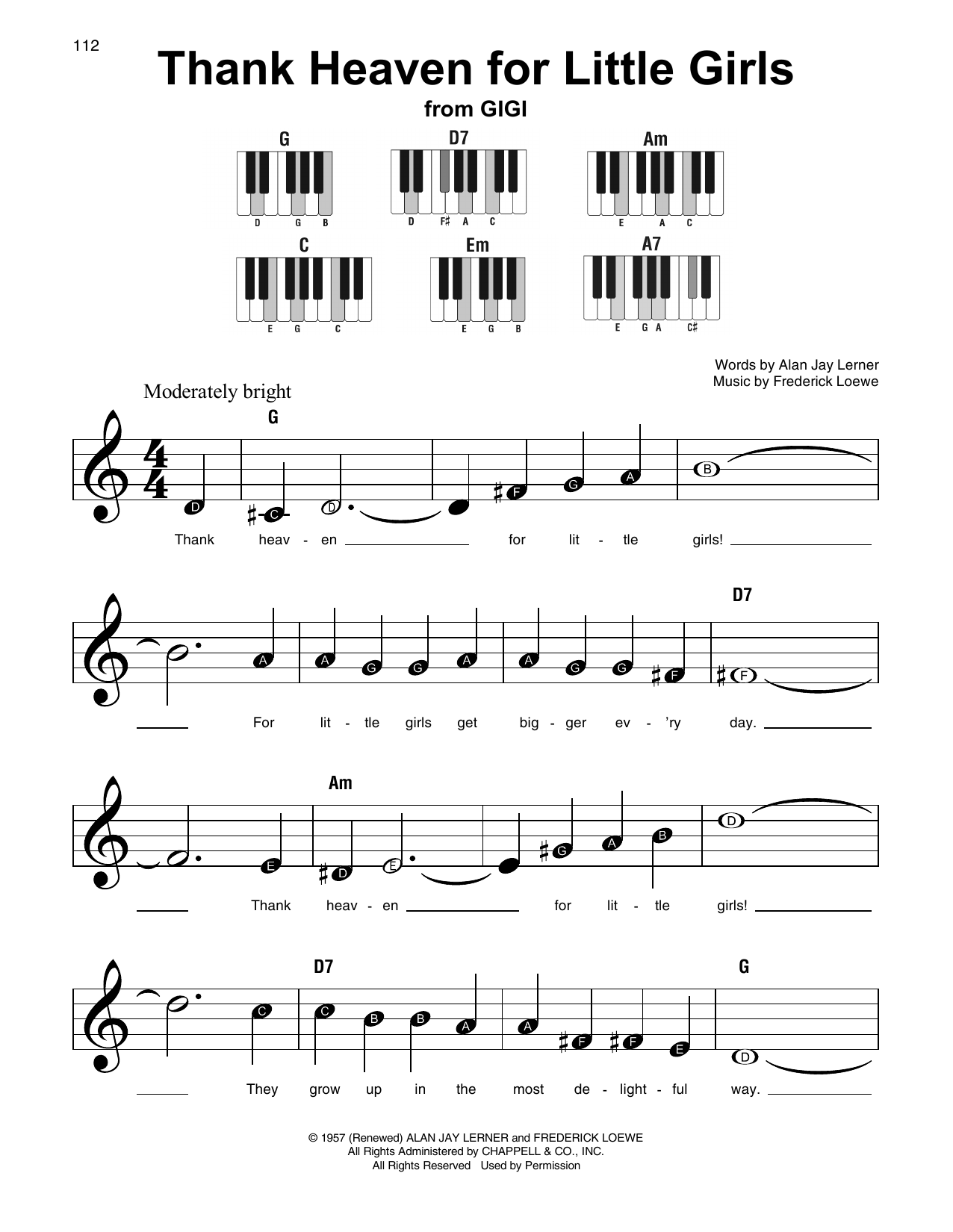 Download Alan Jay Lerner 'Thank Heaven For Little Girls' Digital Sheet Music Notes & Chords and start playing in minutes