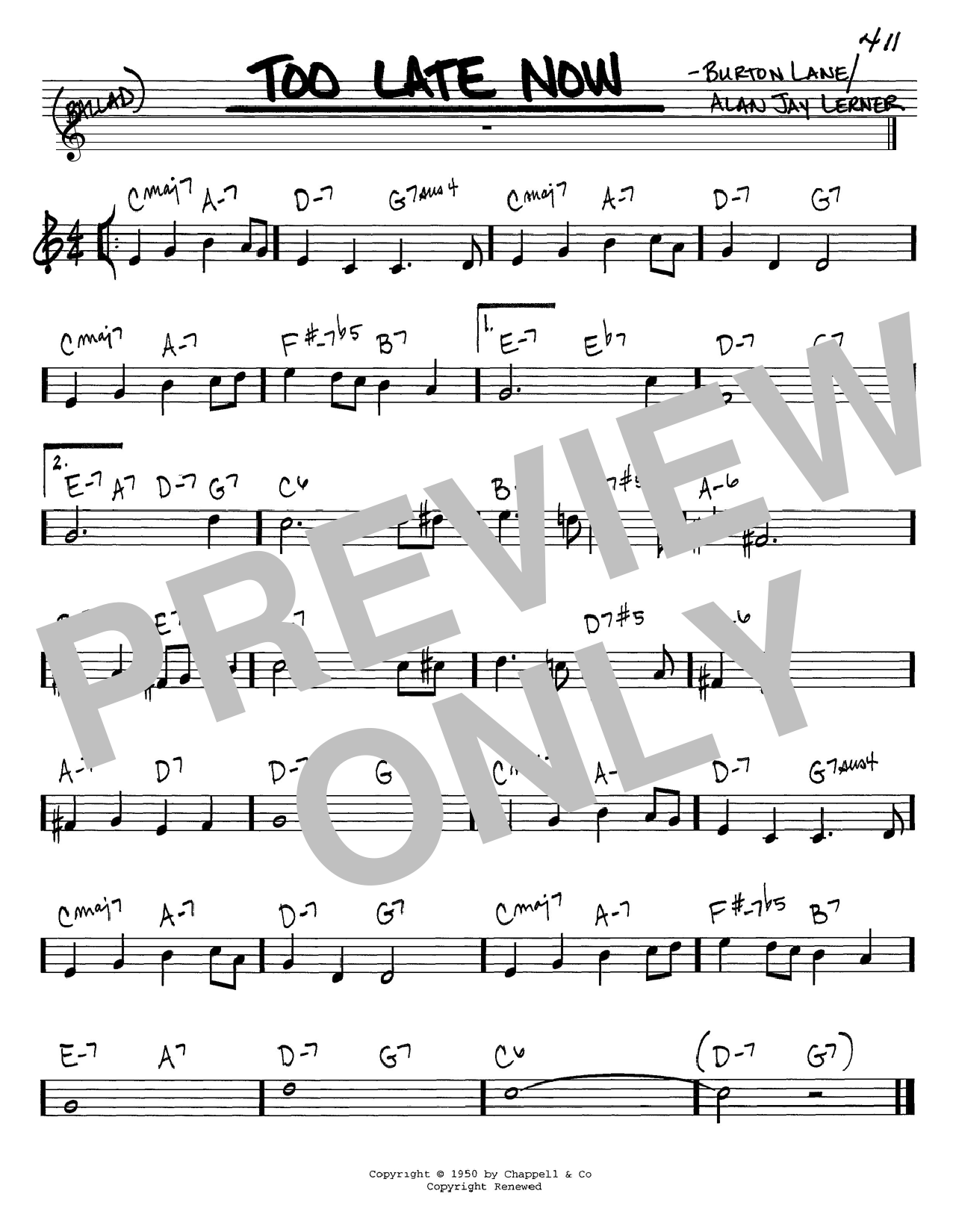 Download Alan Jay Lerner 'Too Late Now' Digital Sheet Music Notes & Chords and start playing in minutes
