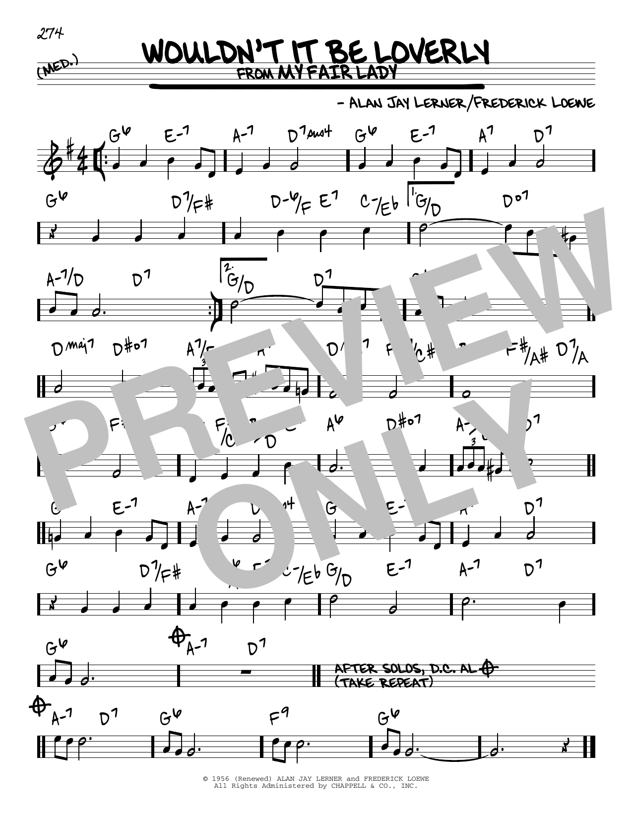 Download Alan Jay Lerner 'Wouldn't It Be Loverly' Digital Sheet Music Notes & Chords and start playing in minutes