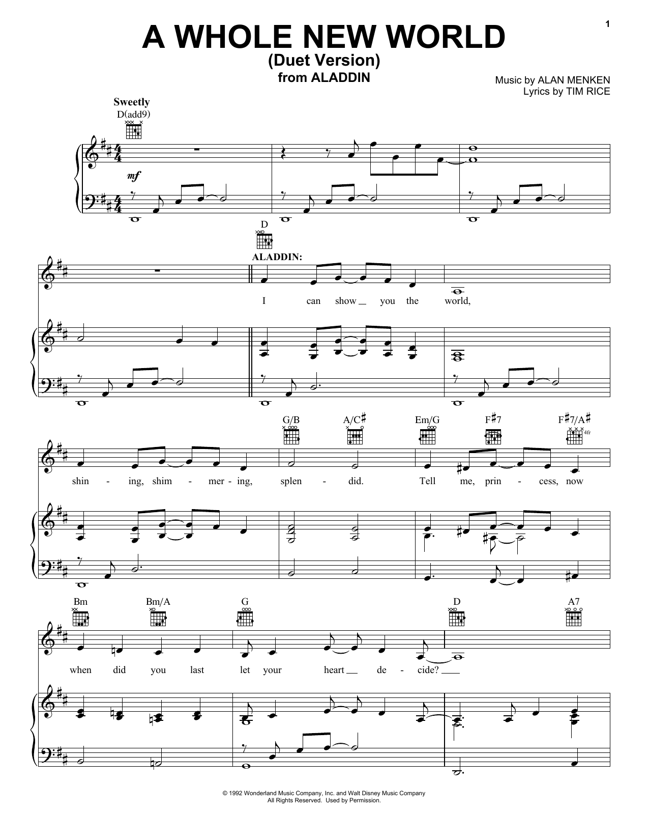 Download Alan Menken 'A Whole New World (Duet Version) (from Aladdin)' Digital Sheet Music Notes & Chords and start playing in minutes
