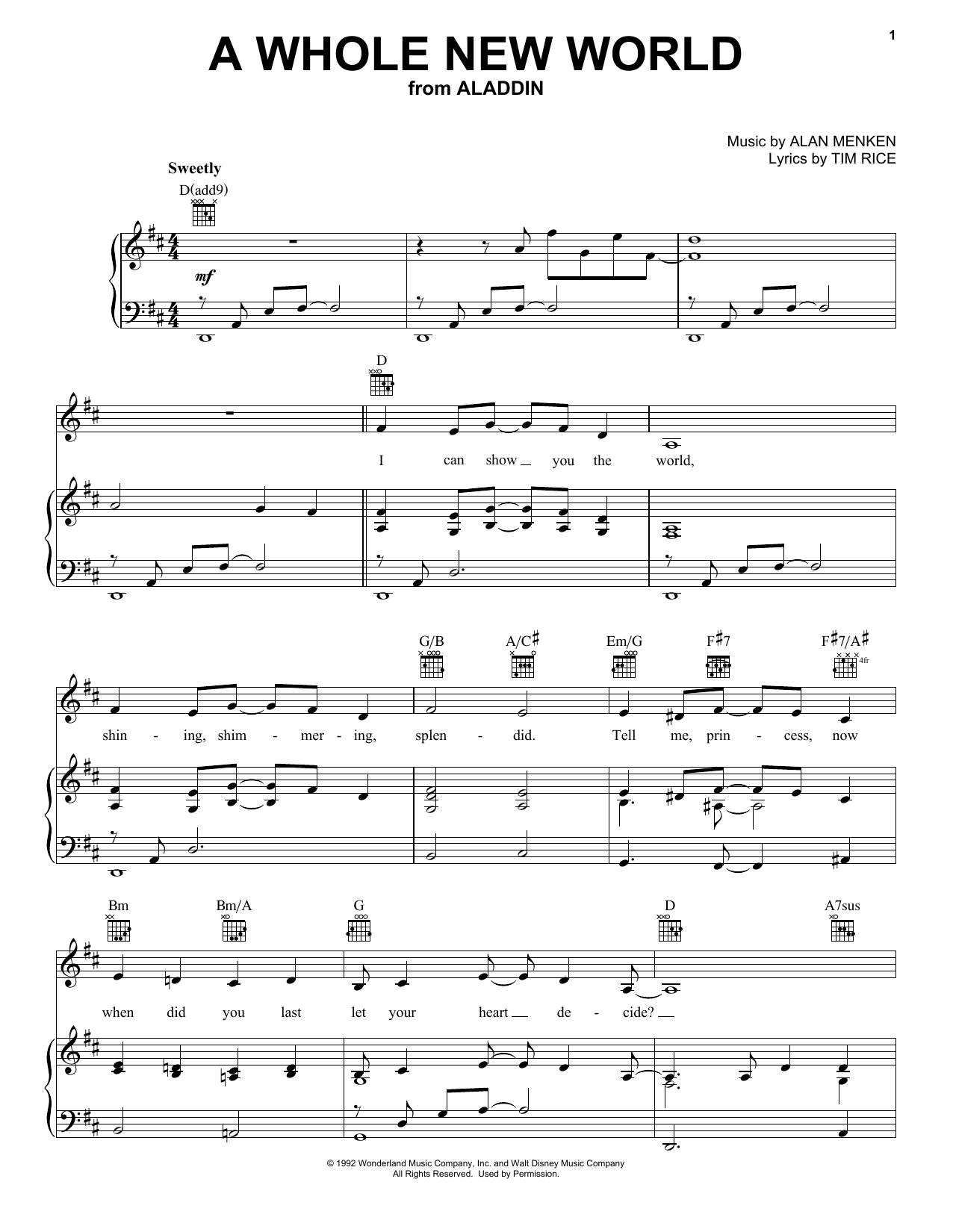 Alan Menken A Whole New World sheet music notes and chords