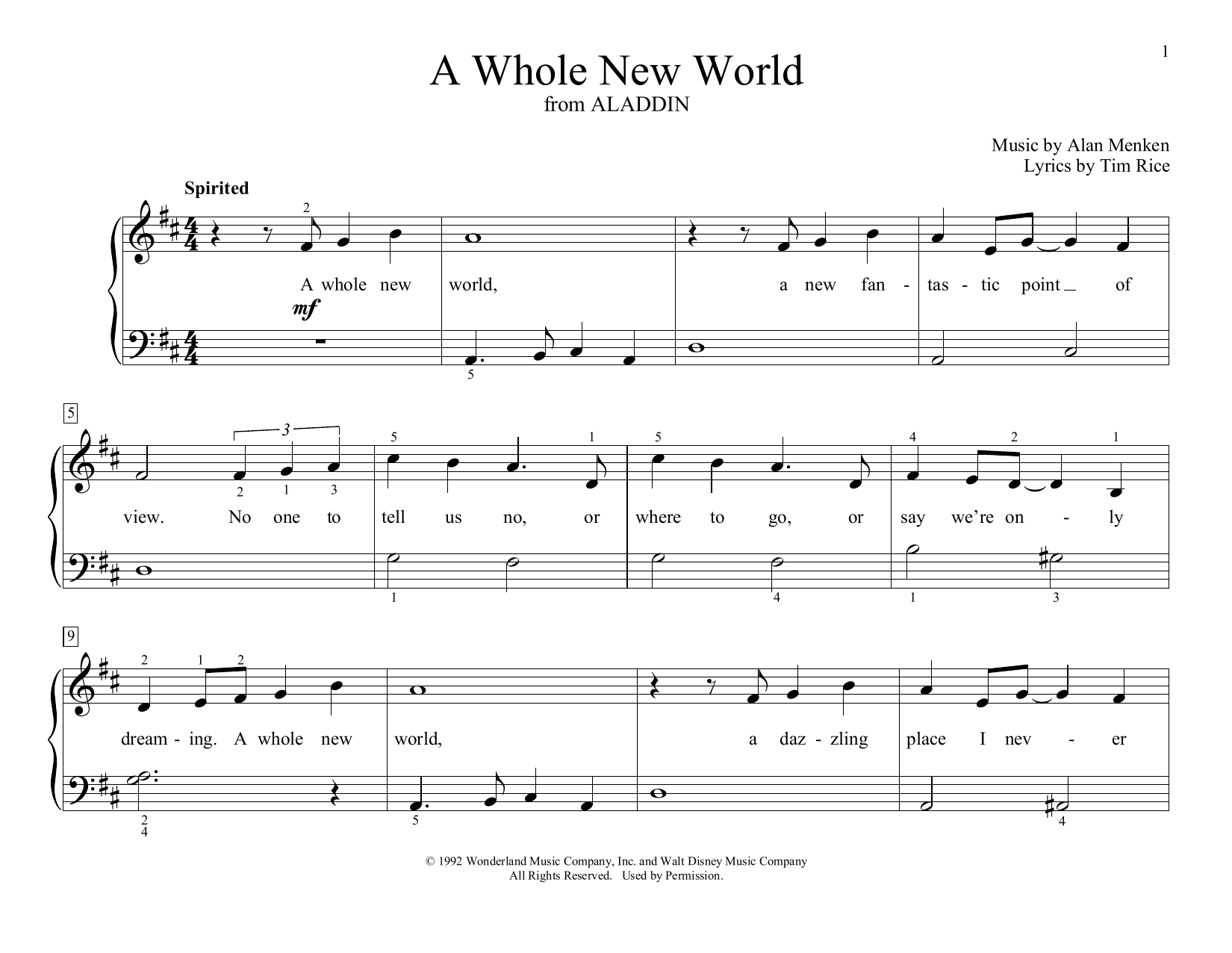 Alan Menken A Whole New World (from Aladdin) (arr. Christopher Hussey) sheet music preview music notes and score for Educational Piano including 2 page(s)