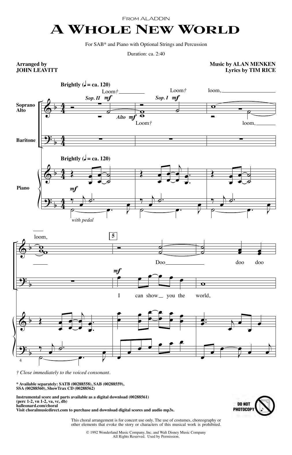 Download Alan Menken 'A Whole New World (from Aladdin) (arr. John Leavitt)' Digital Sheet Music Notes & Chords and start playing in minutes