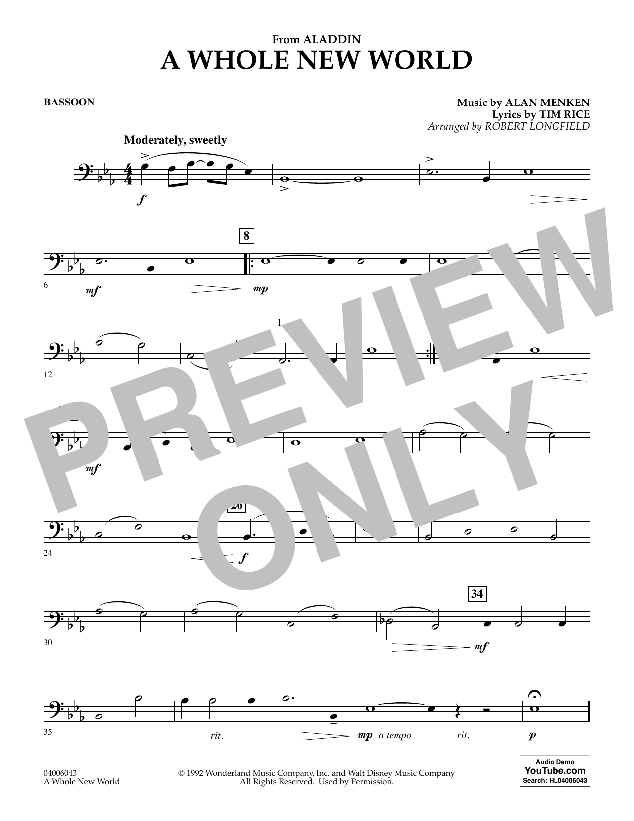 Download Alan Menken 'A Whole New World (from Aladdin) (arr. Robert Longfield) - Bassoon' Digital Sheet Music Notes & Chords and start playing in minutes