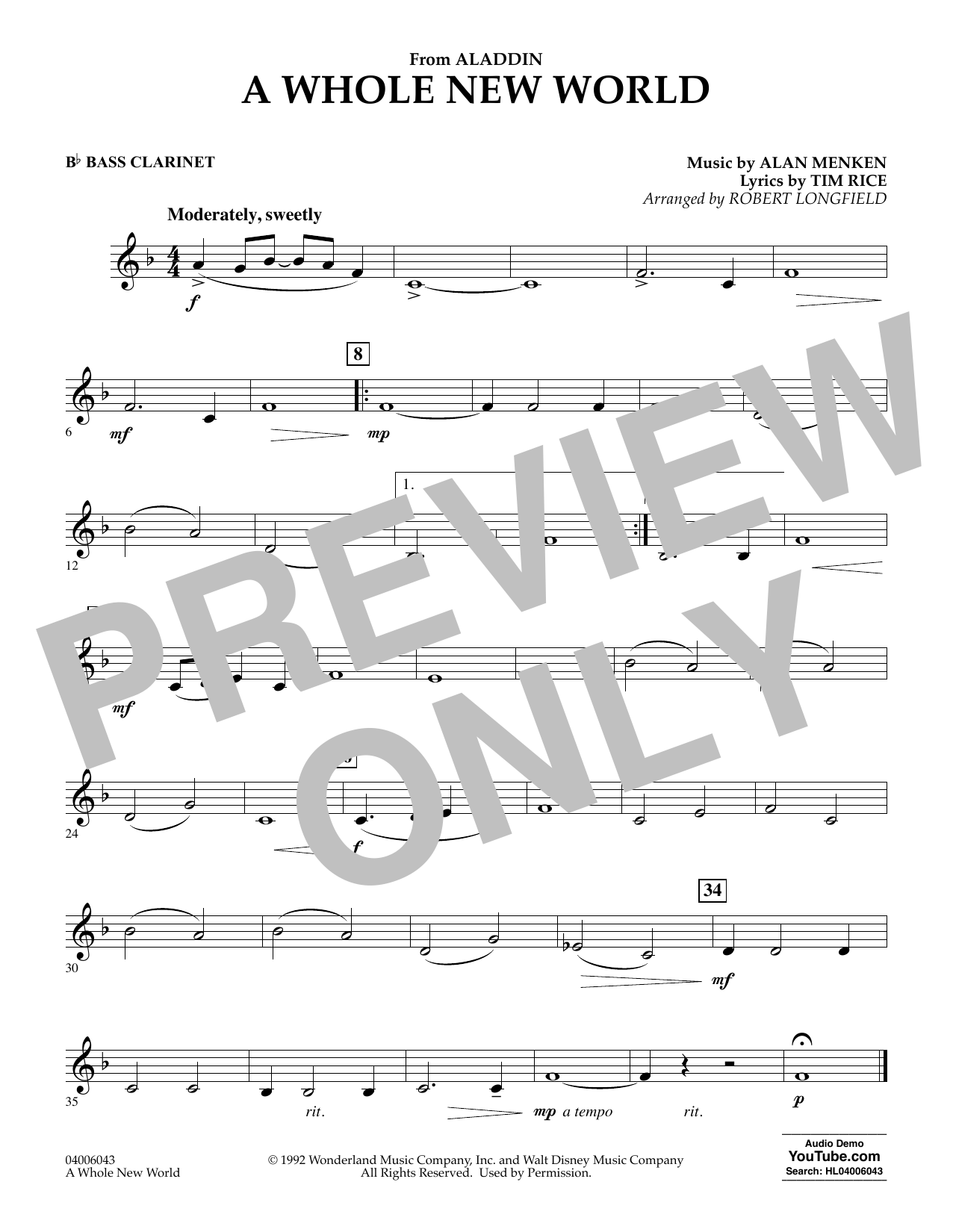 Download Alan Menken 'A Whole New World (from Aladdin) (arr. Robert Longfield) - Bb Bass Clarinet' Digital Sheet Music Notes & Chords and start playing in minutes