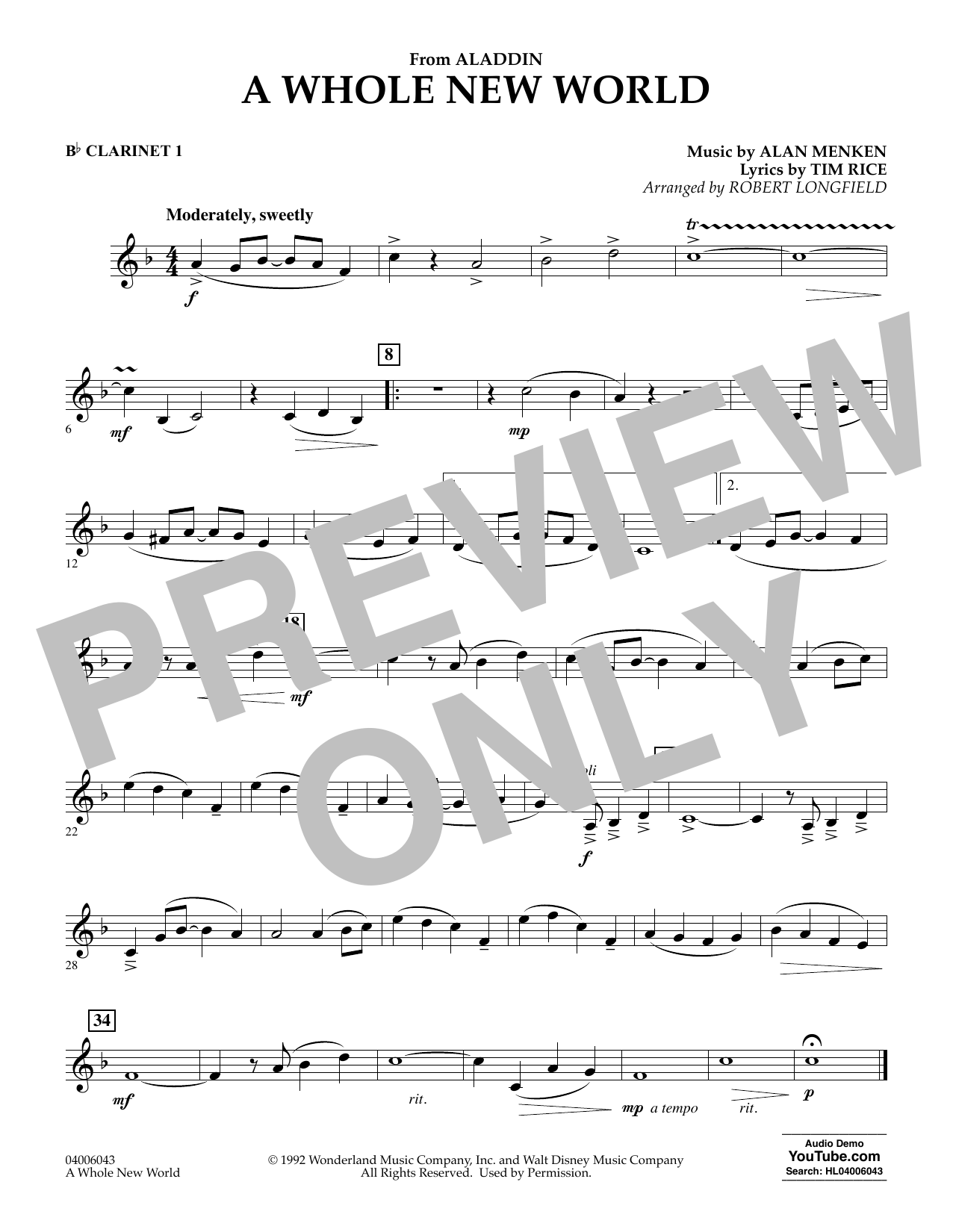 Download Alan Menken 'A Whole New World (from Aladdin) (arr. Robert Longfield) - Bb Clarinet 1' Digital Sheet Music Notes & Chords and start playing in minutes