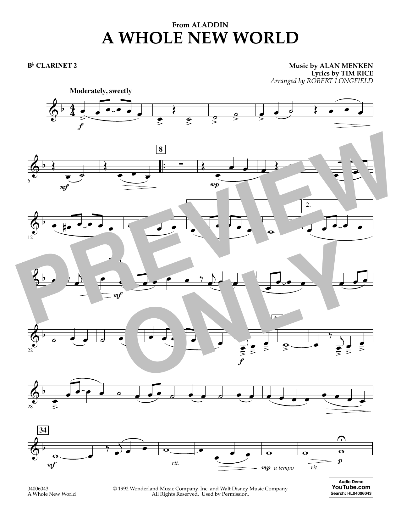 Download Alan Menken 'A Whole New World (from Aladdin) (arr. Robert Longfield) - Bb Clarinet 2' Digital Sheet Music Notes & Chords and start playing in minutes