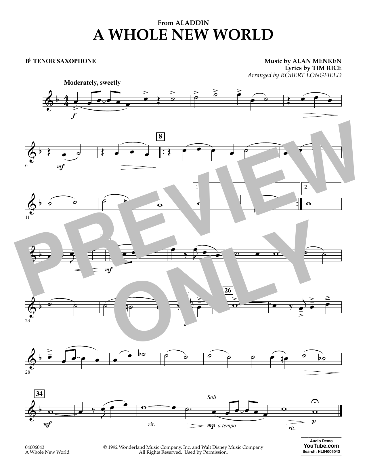 Download Alan Menken 'A Whole New World (from Aladdin) (arr. Robert Longfield) - Bb Tenor Saxophone' Digital Sheet Music Notes & Chords and start playing in minutes