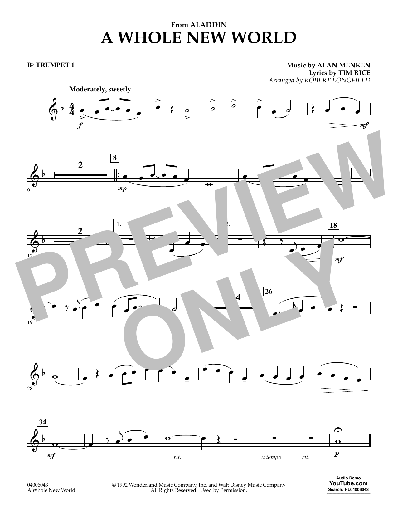 Download Alan Menken 'A Whole New World (from Aladdin) (arr. Robert Longfield) - Bb Trumpet 1' Digital Sheet Music Notes & Chords and start playing in minutes