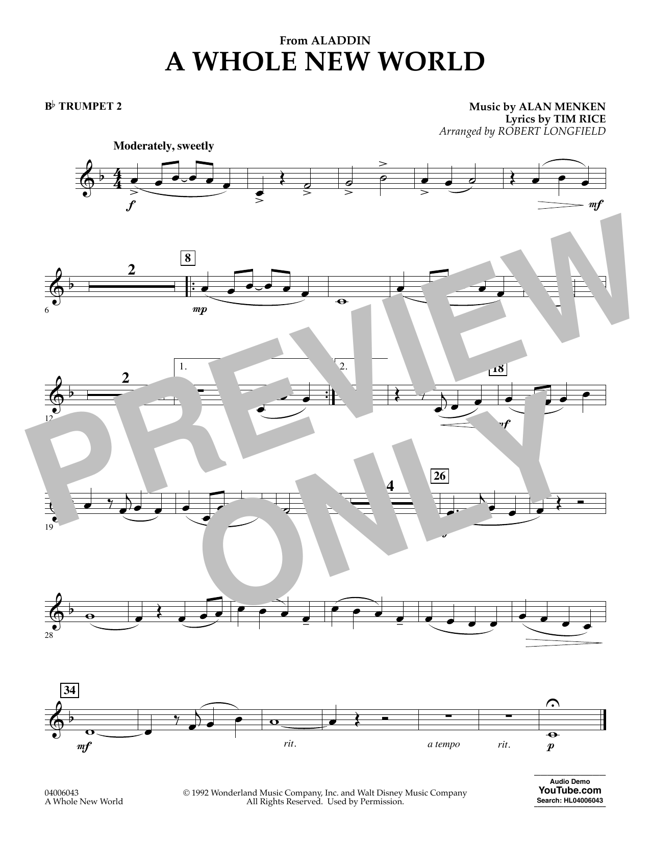 Download Alan Menken 'A Whole New World (from Aladdin) (arr. Robert Longfield) - Bb Trumpet 2' Digital Sheet Music Notes & Chords and start playing in minutes