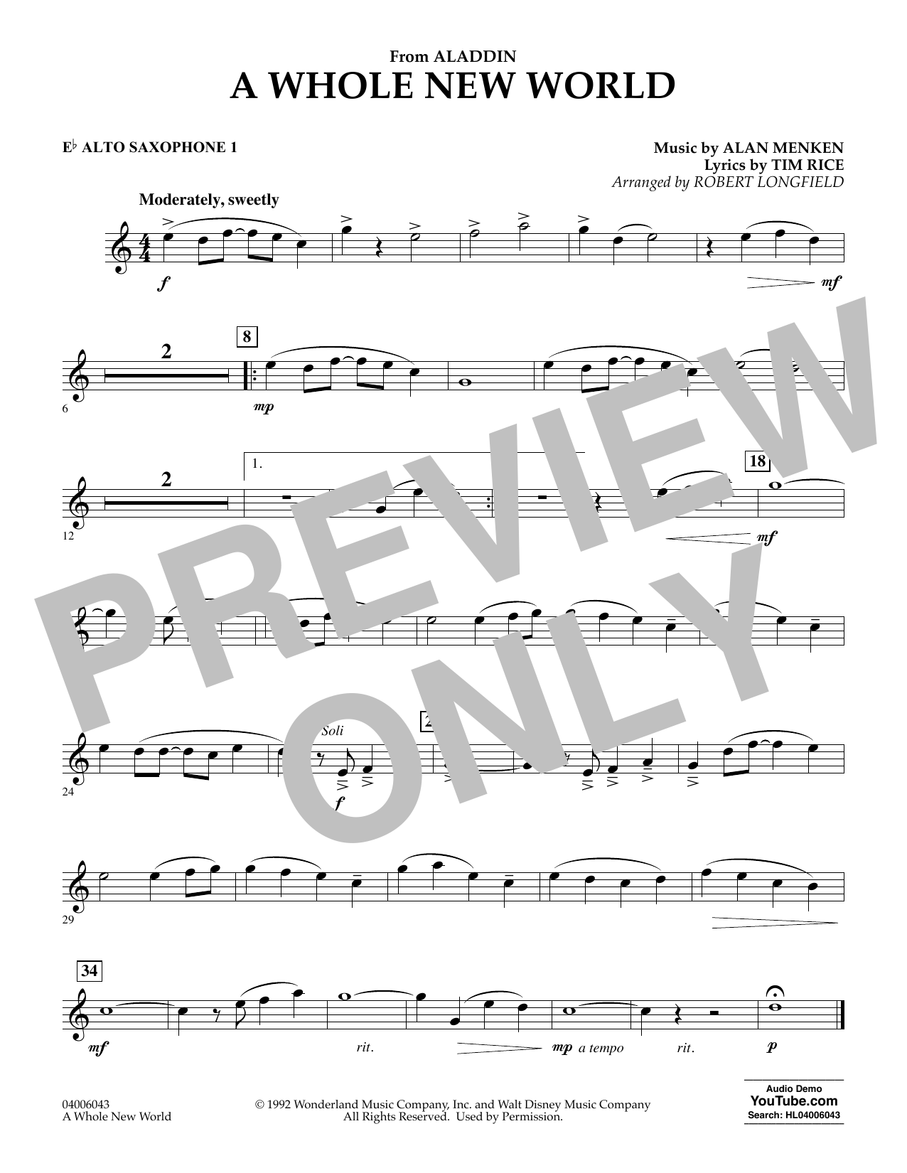 Download Alan Menken 'A Whole New World (from Aladdin) (arr. Robert Longfield) - Eb Alto Saxophone 1' Digital Sheet Music Notes & Chords and start playing in minutes