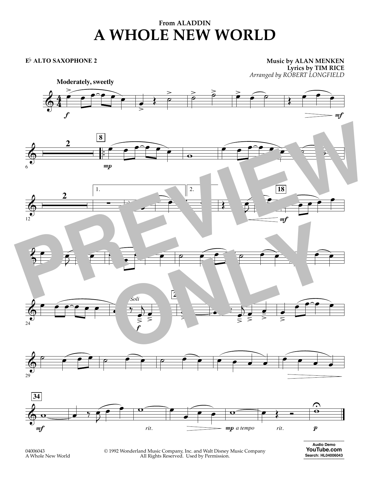 Download Alan Menken 'A Whole New World (from Aladdin) (arr. Robert Longfield) - Eb Alto Saxophone 2' Digital Sheet Music Notes & Chords and start playing in minutes