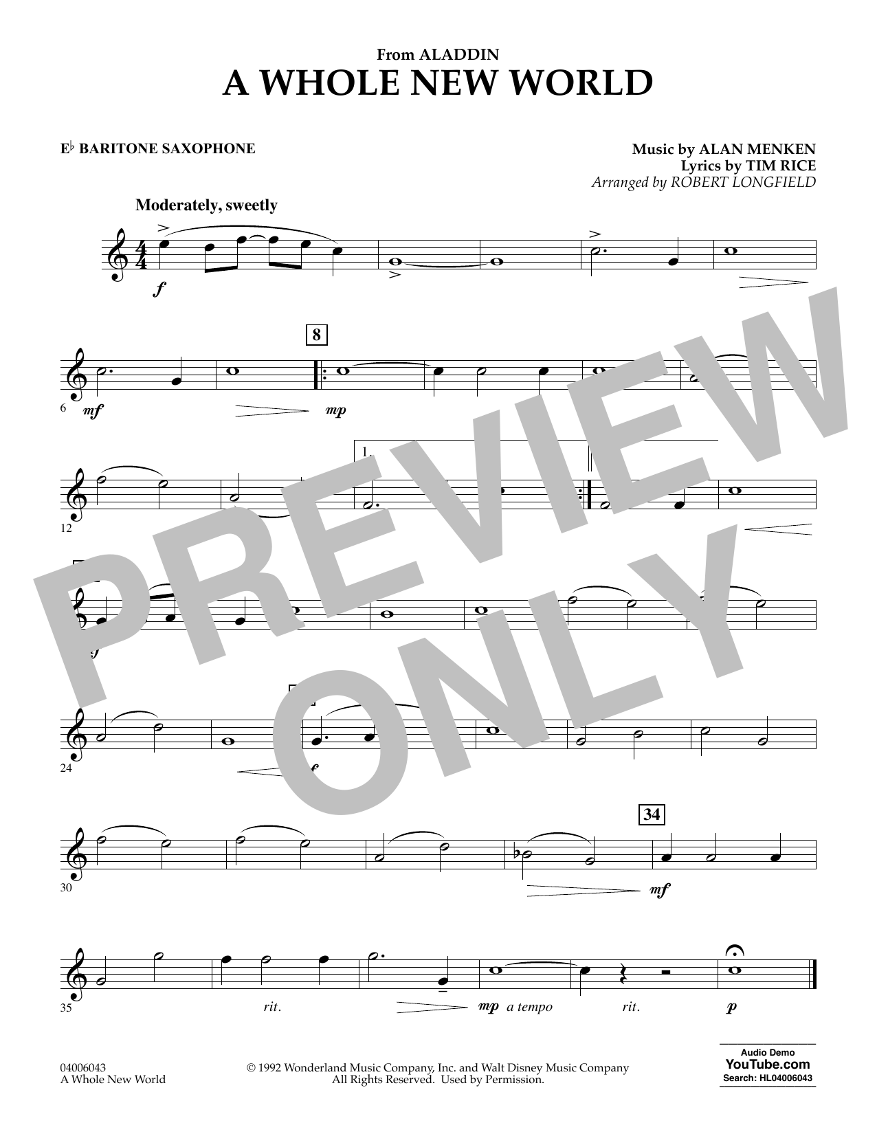 Download Alan Menken 'A Whole New World (from Aladdin) (arr. Robert Longfield) - Eb Baritone Saxophone' Digital Sheet Music Notes & Chords and start playing in minutes