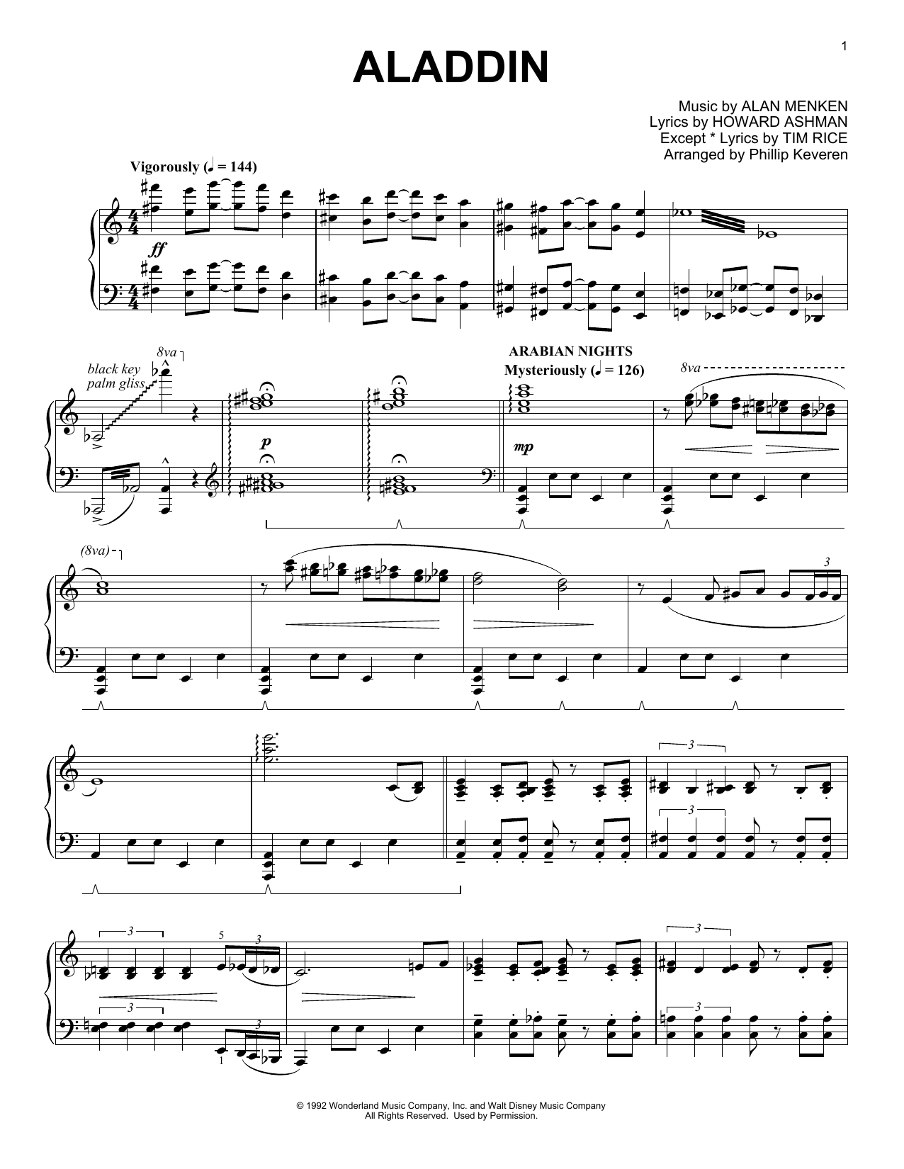 Download Phillip Keveren 'Aladdin Medley' Digital Sheet Music Notes & Chords and start playing in minutes