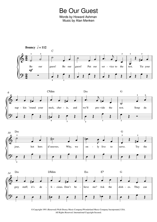 Download Alan Menken 'Be Our Guest (from 'Beauty And The Beast')' Digital Sheet Music Notes & Chords and start playing in minutes
