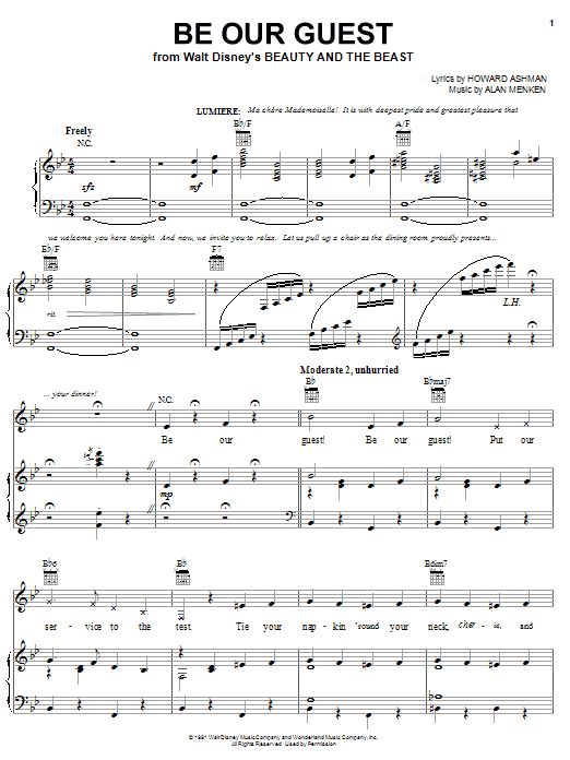 Alan Menken Be Our Guest sheet music preview music notes and score for Piano, Vocal & Guitar (Right-Hand Melody) including 18 page(s)