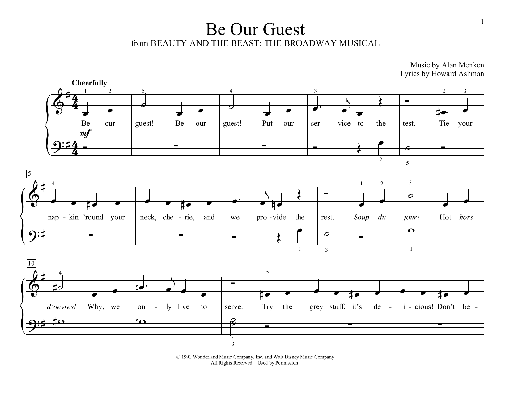 Alan Menken Be Our Guest (from Beauty and The Beast) (arr. Christopher Hussey) sheet music preview music notes and score for Educational Piano including 2 page(s)
