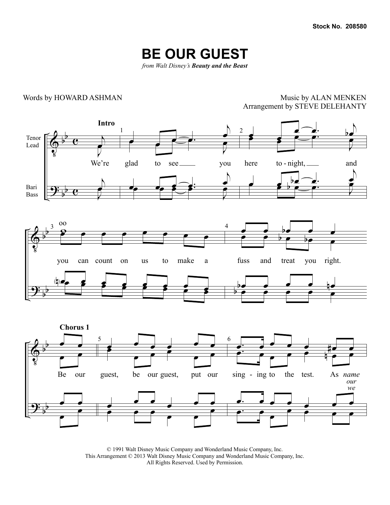 Alan Menken Be Our Guest (from Beauty and The Beast) (arr. Steve Delehanty) sheet music preview music notes and score for SSAA Choir including 5 page(s)