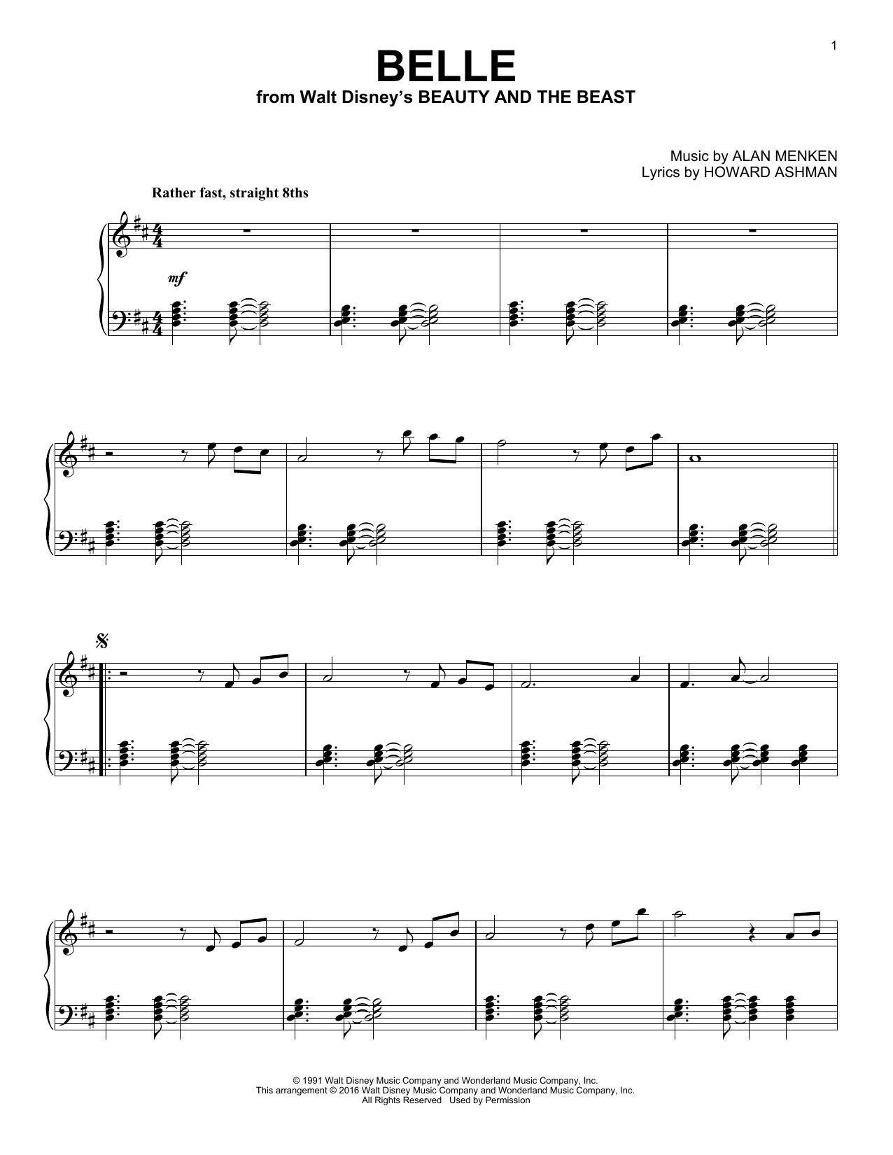 Download Alan Menken 'Belle' Digital Sheet Music Notes & Chords and start playing in minutes