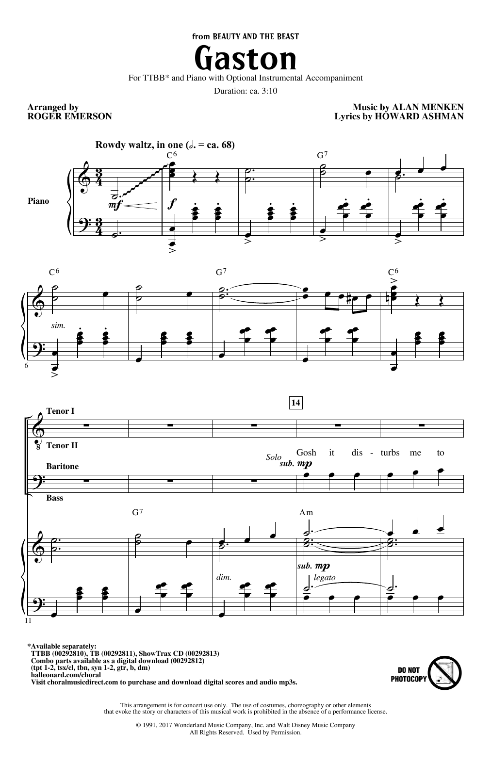 Download Alan Menken 'Gaston (from Beauty and The Beast) (arr. Roger Emerson)' Digital Sheet Music Notes & Chords and start playing in minutes