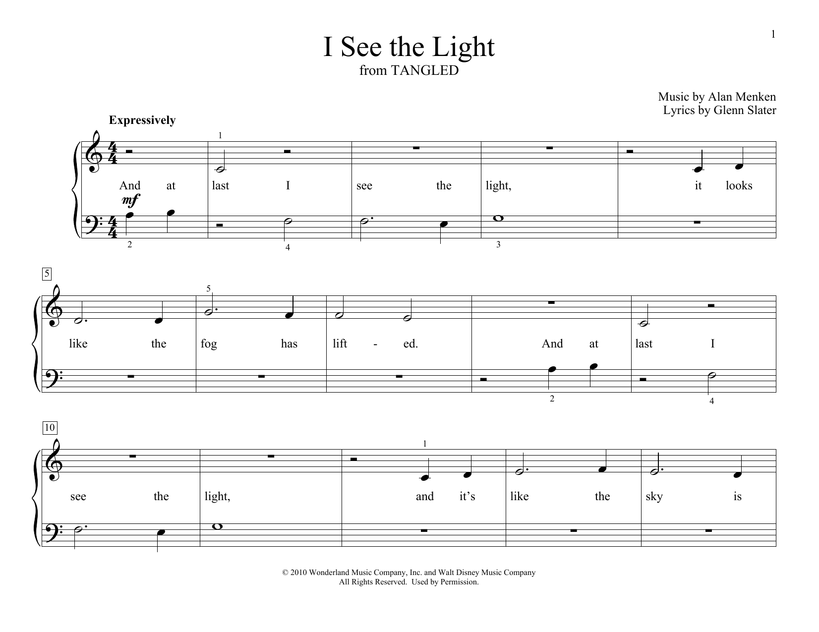 Alan Menken I See The Light (from Disney's Tangled) (arr. Christopher Hussey) sheet music preview music notes and score for Educational Piano including 2 page(s)
