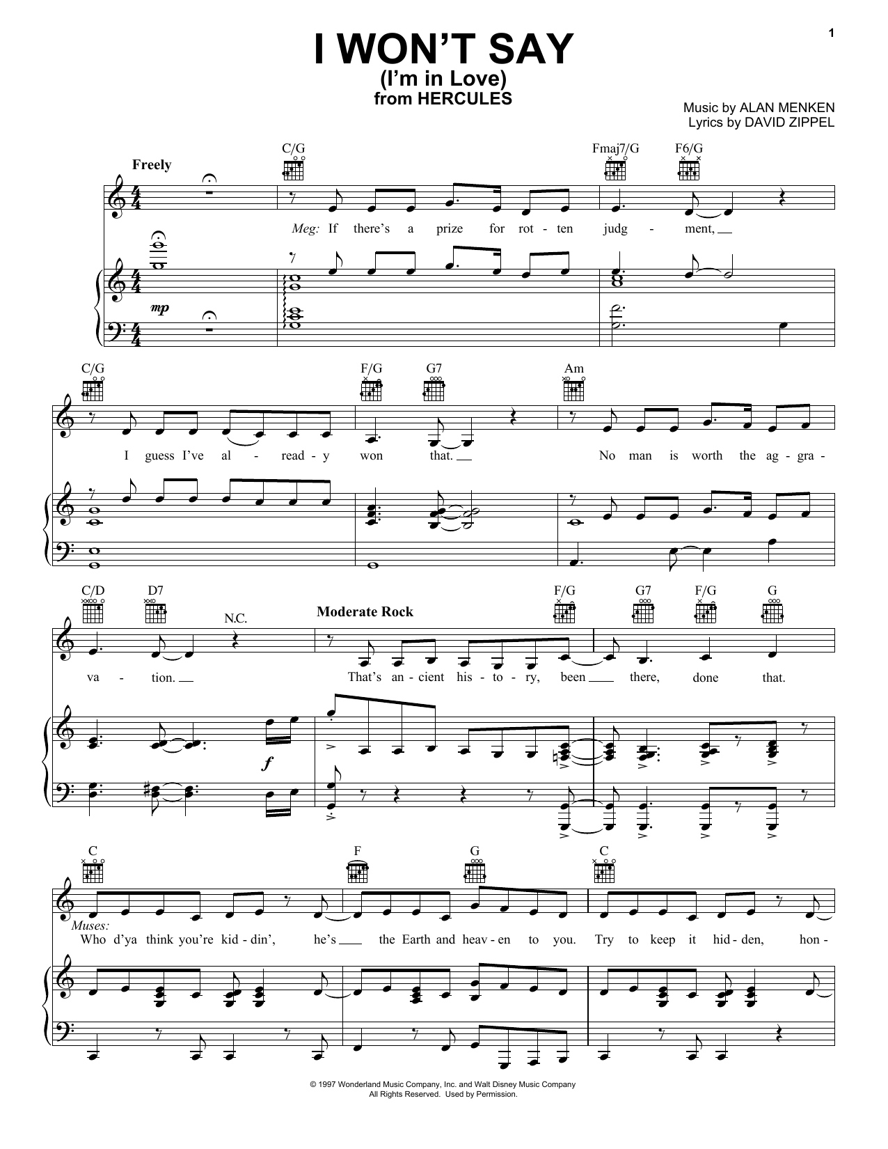 Download Alan Menken 'I Won't Say (I'm In Love) (from Disney's Hercules)' Digital Sheet Music Notes & Chords and start playing in minutes