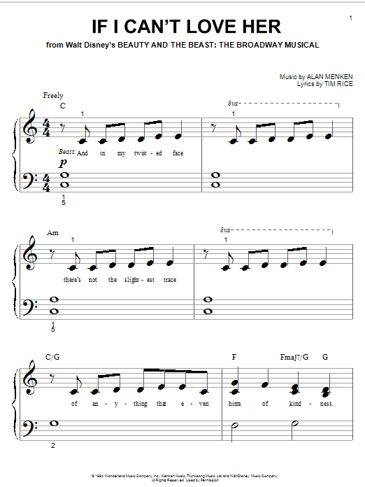 Alan Menken If I Can't Love Her sheet music preview music notes and score for Piano (Big Notes) including 7 page(s)