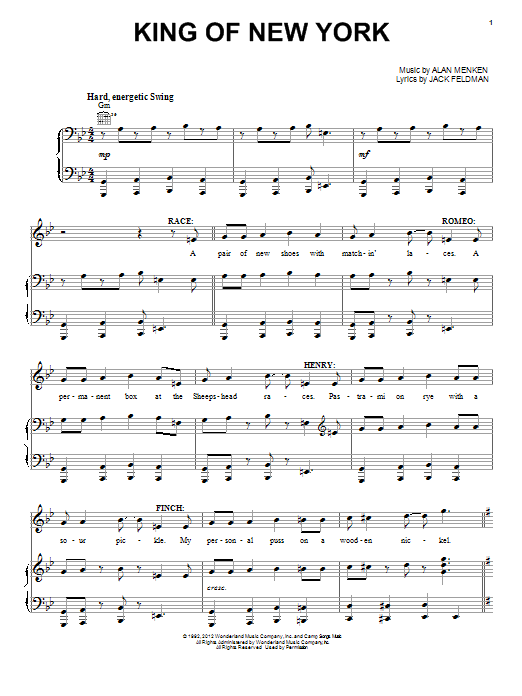 Alan Menken King Of New York sheet music preview music notes and score for Piano, Vocal & Guitar (Right-Hand Melody) including 9 page(s)