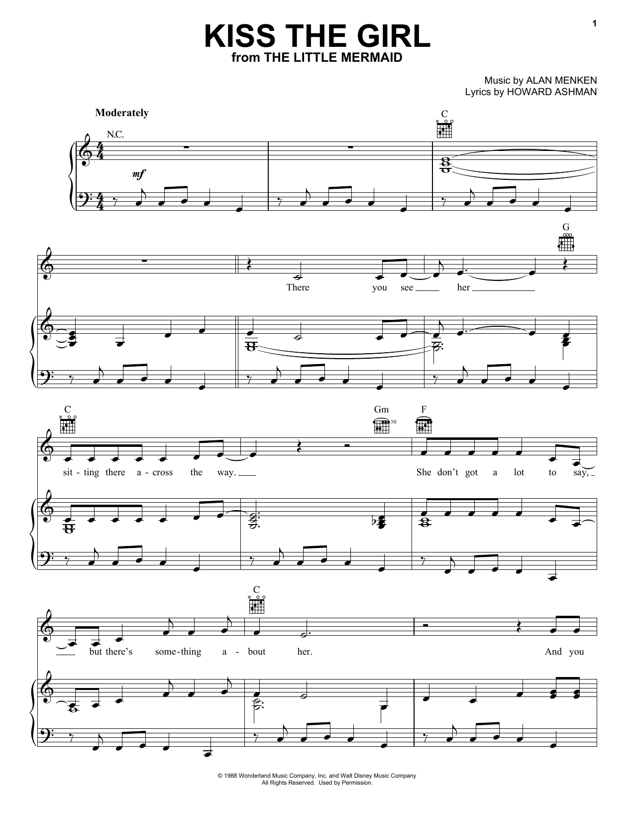 Alan Menken Kiss The Girl sheet music preview music notes and score for Piano (Big Notes) including 3 page(s)