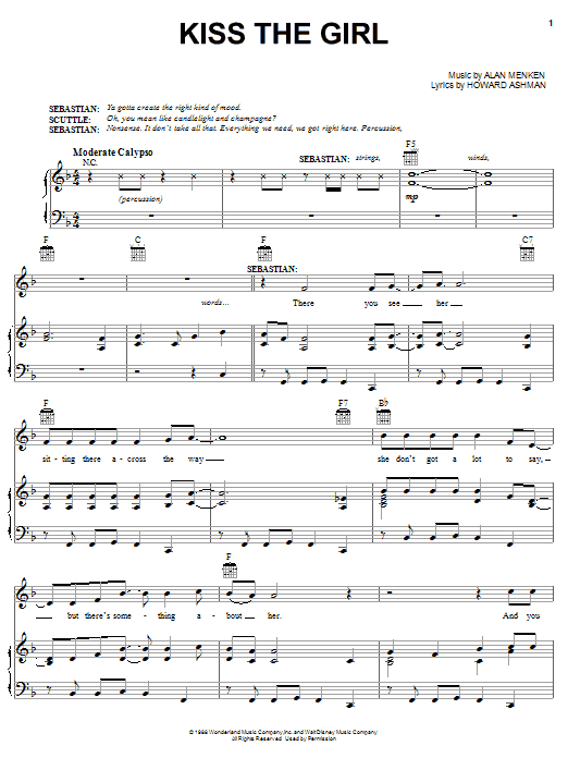 Alan Menken Kiss The Girl sheet music preview music notes and score for Piano, Vocal & Guitar (Right-Hand Melody) including 7 page(s)