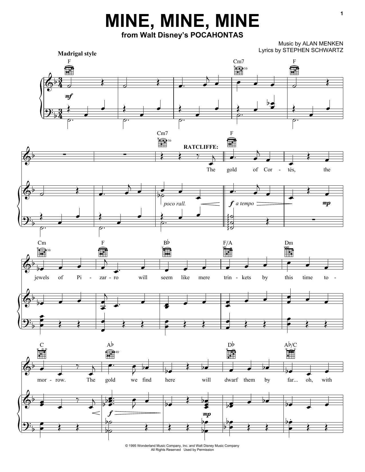Alan Menken Mine, Mine, Mine sheet music notes and chords