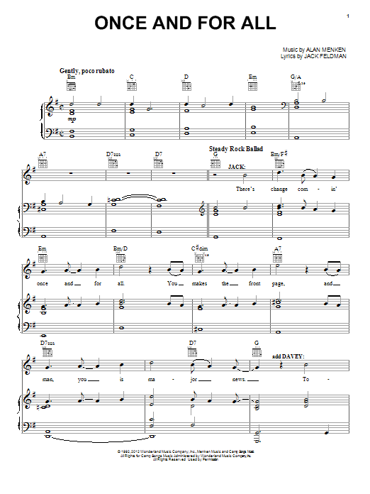 Alan Menken Once And For All sheet music preview music notes and score for Piano, Vocal & Guitar (Right-Hand Melody) including 13 page(s)