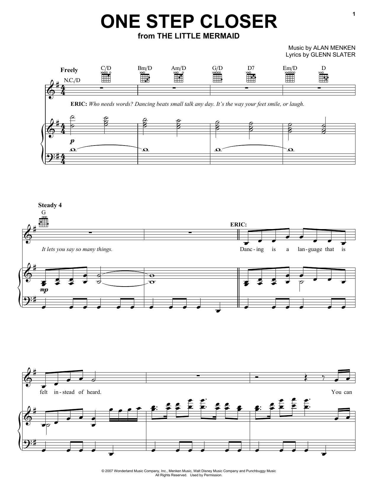 Alan Menken One Step Closer sheet music preview music notes and score for Piano, Vocal & Guitar (Right-Hand Melody) including 8 page(s)