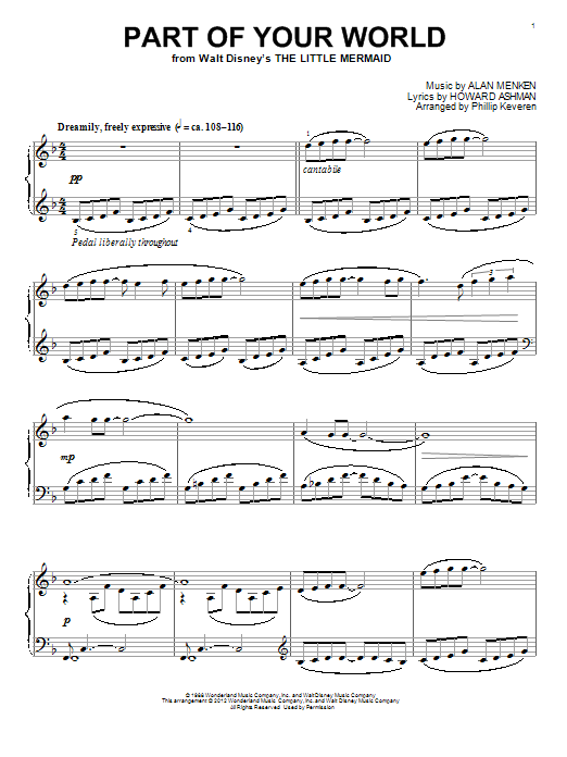 Download Phillip Keveren 'Part Of Your World' Digital Sheet Music Notes & Chords and start playing in minutes
