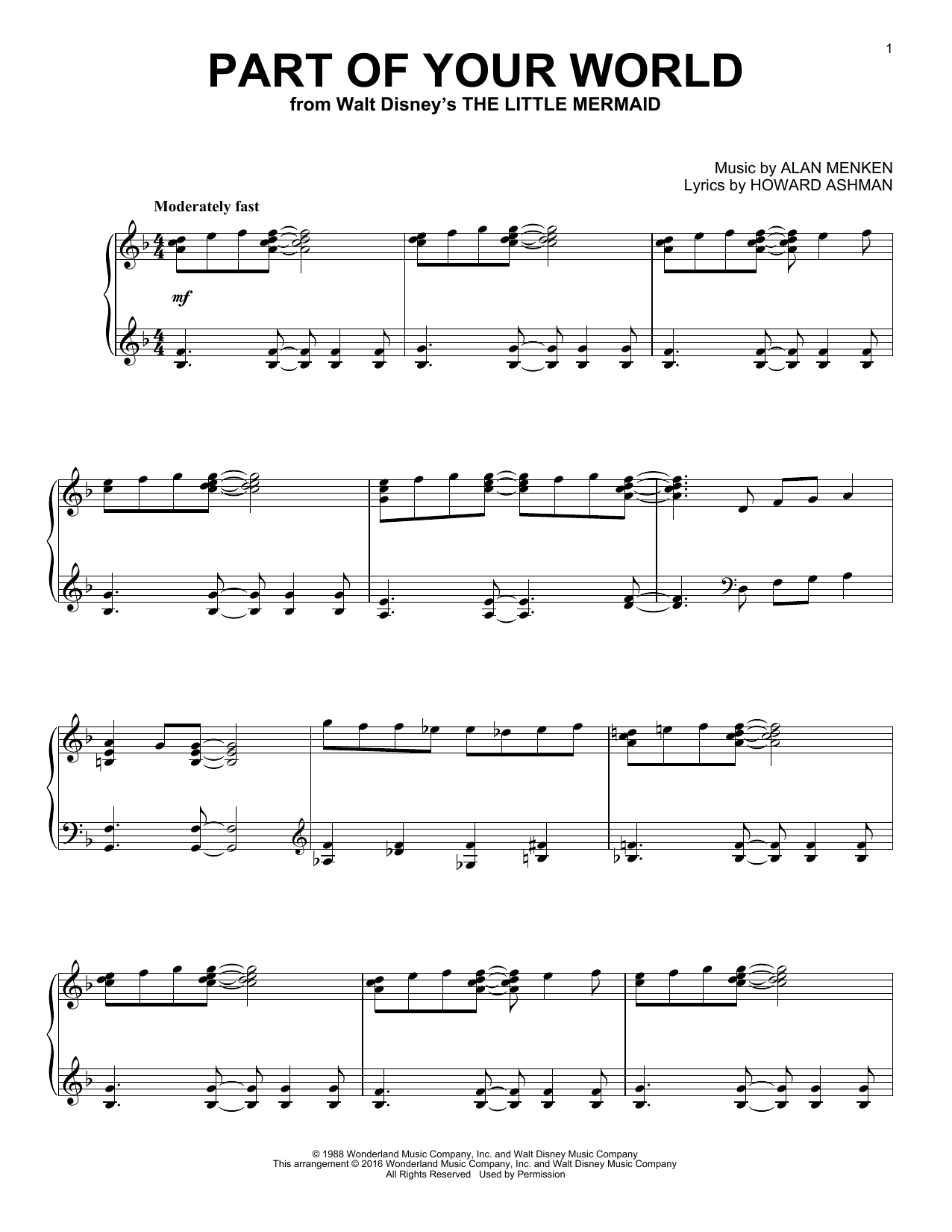 Download Alan Menken 'Part Of Your World' Digital Sheet Music Notes & Chords and start playing in minutes