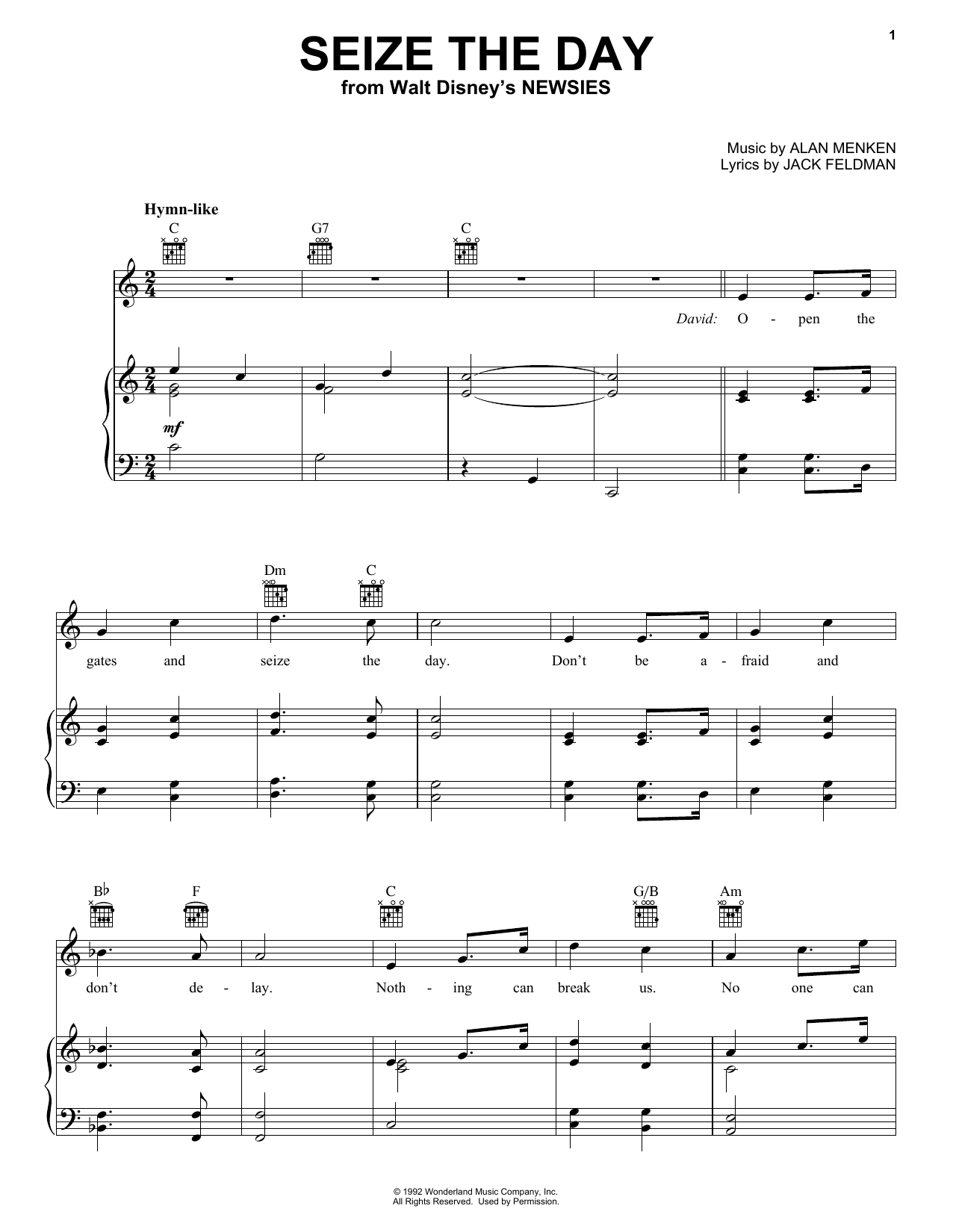 Download Alan Menken 'Seize The Day (from Newsies)' Digital Sheet Music Notes & Chords and start playing in minutes