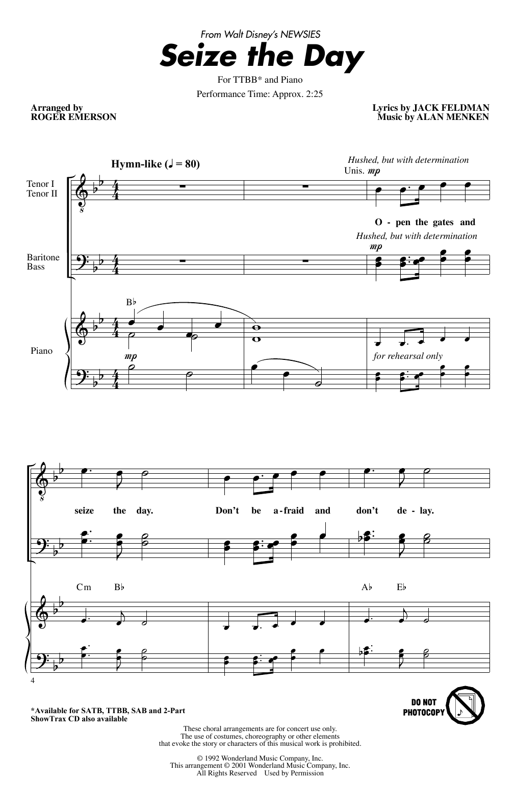 Download Alan Menken 'Seize The Day (from Newsies) (arr. Roger Emerson)' Digital Sheet Music Notes & Chords and start playing in minutes