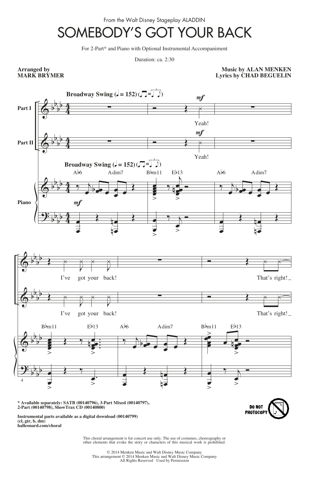 Download Mark Brymer 'Somebody's Got Your Back' Digital Sheet Music Notes & Chords and start playing in minutes