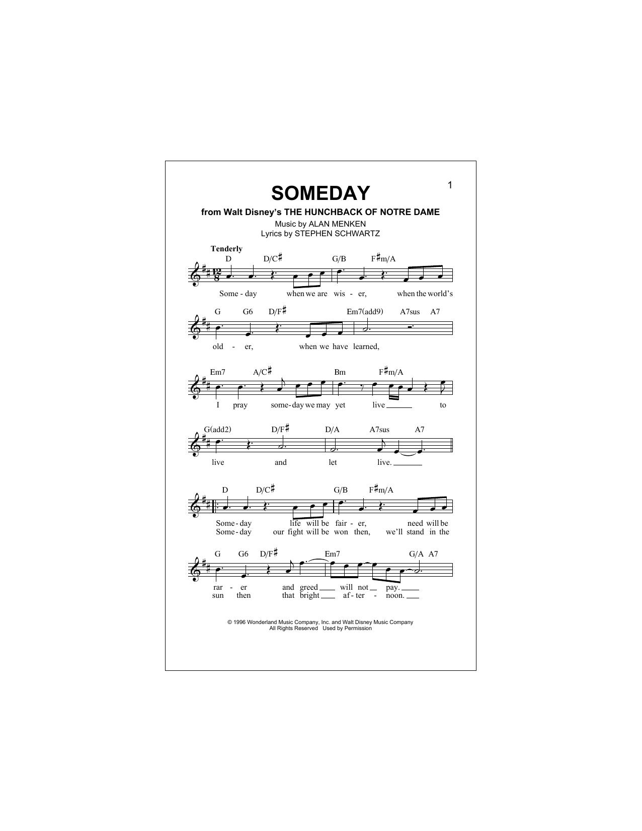 Download Alan Menken 'Someday' Digital Sheet Music Notes & Chords and start playing in minutes