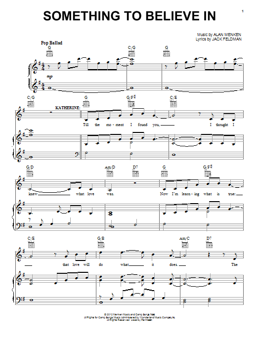 Alan Menken Something To Believe In (from Newsies) sheet music preview music notes and score for Piano, Vocal & Guitar (Right-Hand Melody) including 8 page(s)