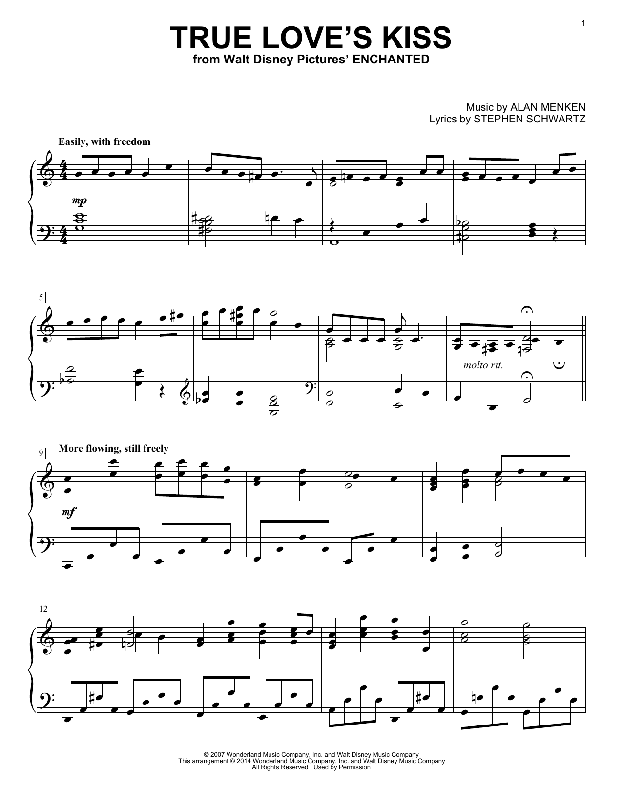 Download Alan Menken 'True Love's Kiss' Digital Sheet Music Notes & Chords and start playing in minutes