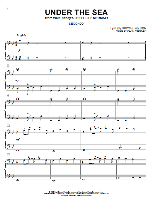 Download Alan Menken 'Under The Sea' Digital Sheet Music Notes & Chords and start playing in minutes