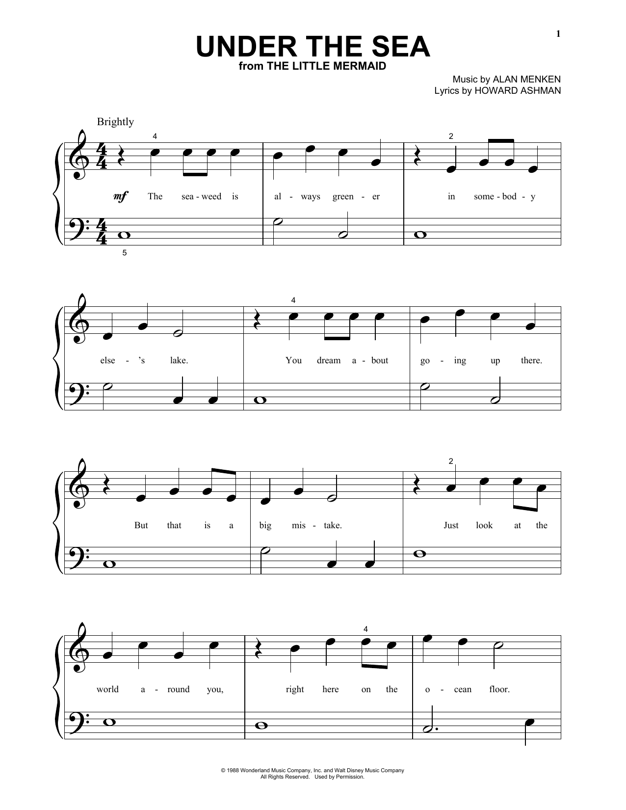 Alan Menken Under The Sea From The Little Mermaid Sheet Music Download Pdf Score 80397