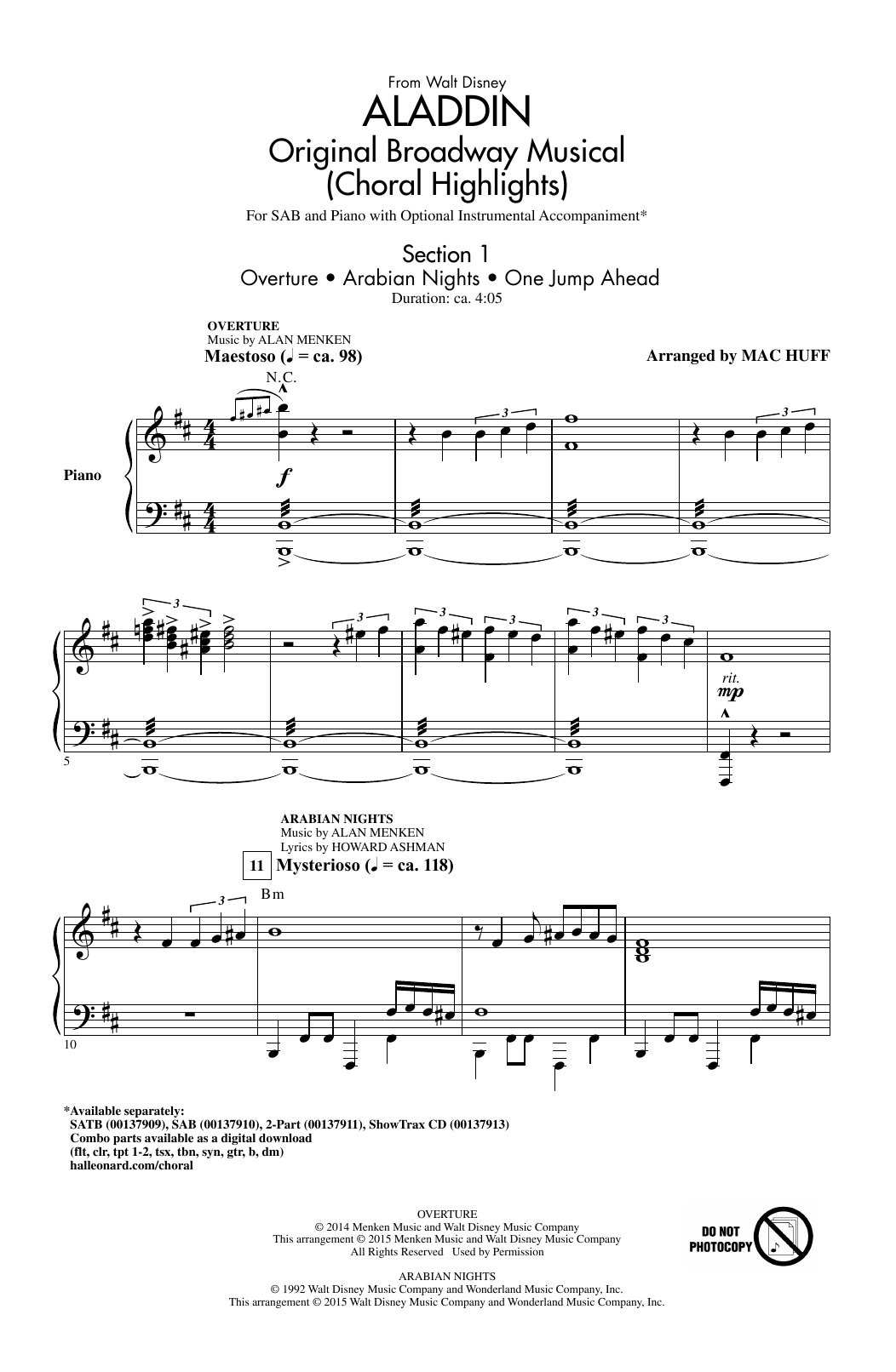 Download Alan Menken 'Aladdin (Choral Highlights) (arr. Mac Huff)' Digital Sheet Music Notes & Chords and start playing in minutes