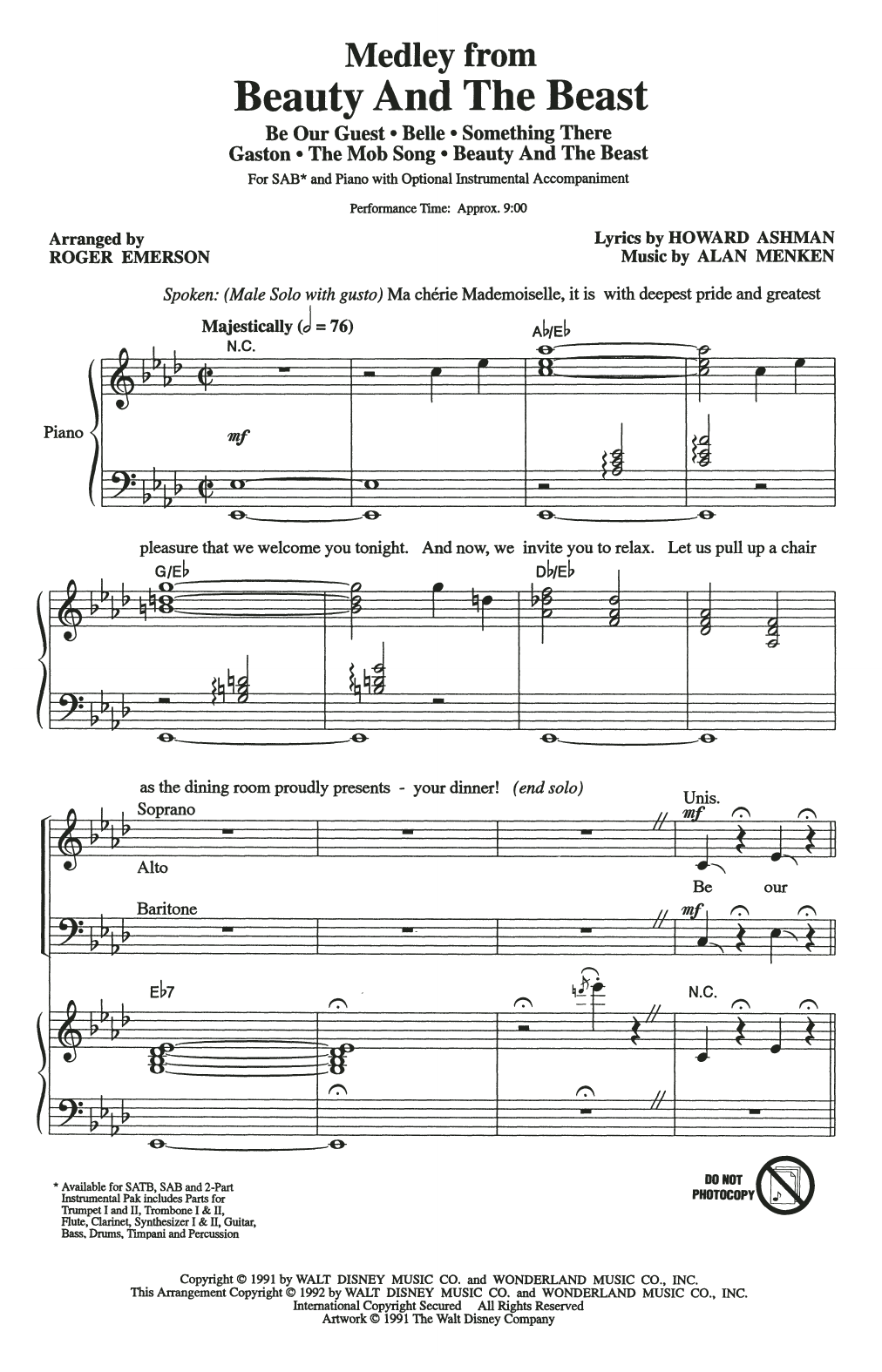 Download Alan Menken & Howard Ashman 'Beauty And The Beast (Medley) (arr. Roger Emerson)' Digital Sheet Music Notes & Chords and start playing in minutes