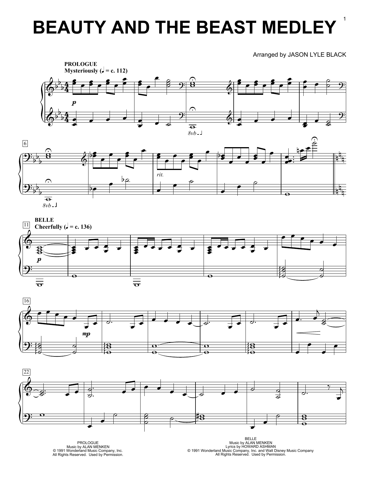 Download Jason Lyle Black 'Beauty And The Beast Medley' Digital Sheet Music Notes & Chords and start playing in minutes