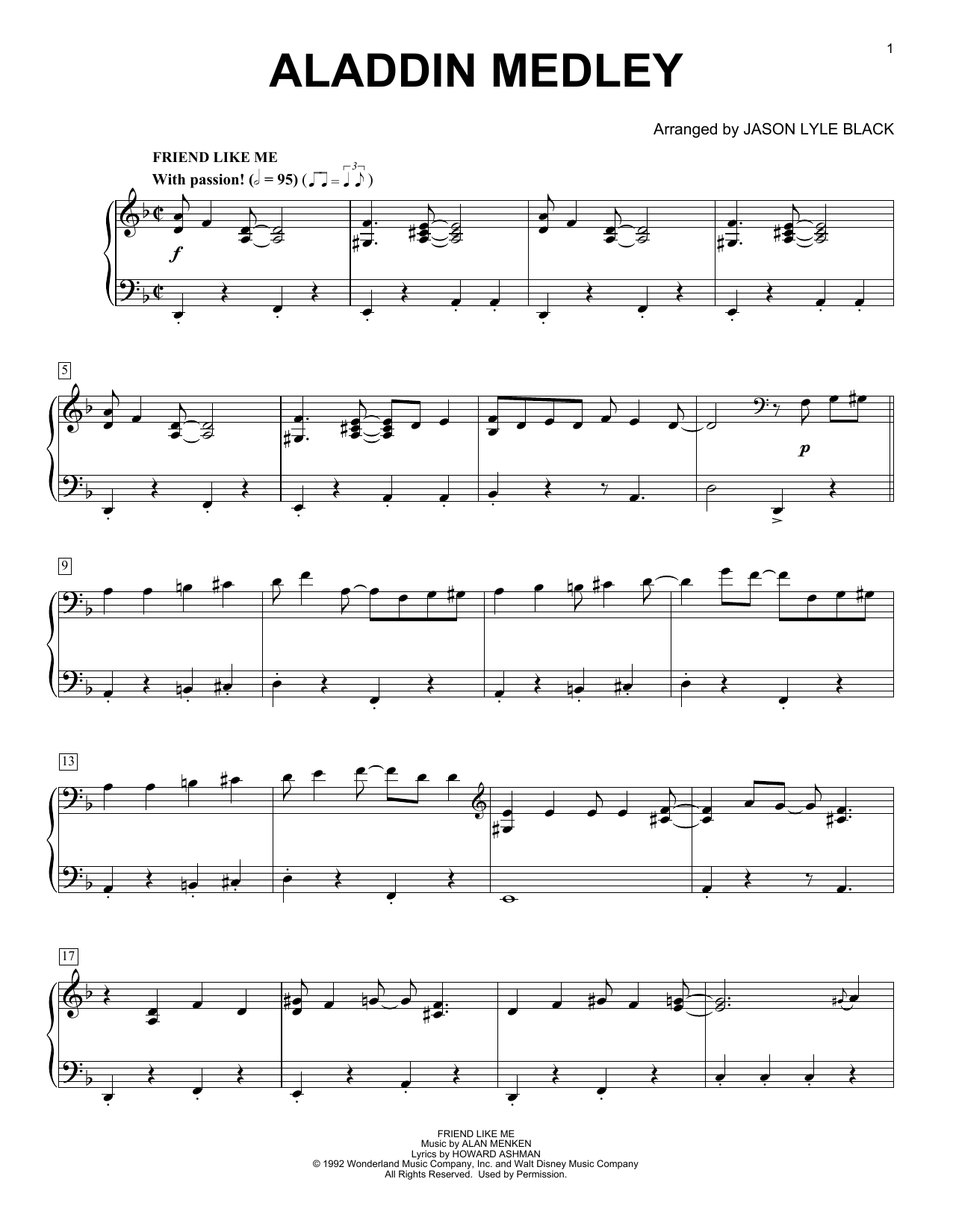 Download Jason Lyle Black 'Aladdin Medley' Digital Sheet Music Notes & Chords and start playing in minutes